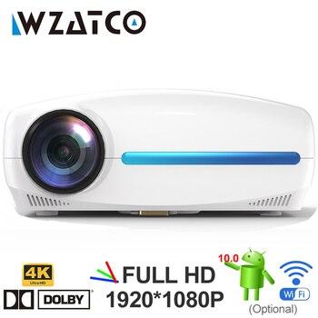 Wzatco c2 4k hd completo 1080p led projetor android 10 wi fi inteligente casa teatro ac3 200 polegada vídeo proyector com 4d digital keyston