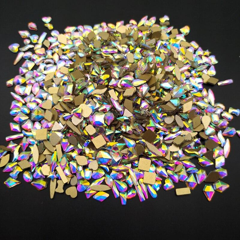 Yüksek kalite 100 adet/torba kristaller AB tırnak Rhinestones düz altın alt yağmur damlası eşkenar dörtgen cam taşlar Nail Art süslemeleri için