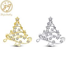Zhijia delicate gold silver color rhinestone hollow Christmas tree star pins brooches for women men christmas gifts