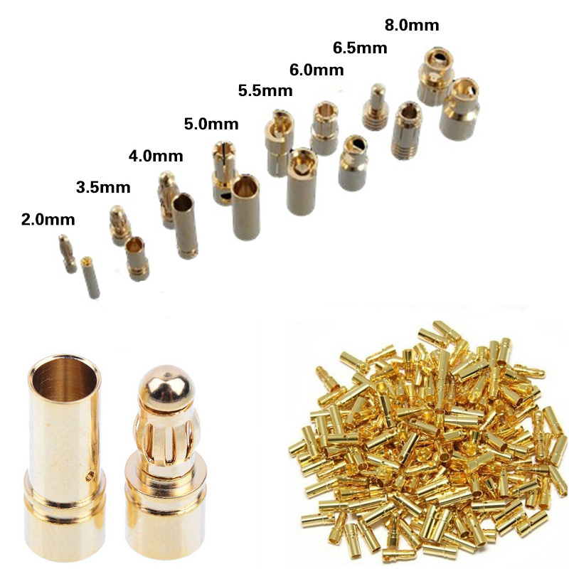 40pcs/lot 2.0mm 3.0mm 3.5mm 4.0mm 5.5mm 6.0mm 8.0MM Gold Bullet Banana Connector Plug For ESC Lipo RC Battery Plugs (20 Pair)