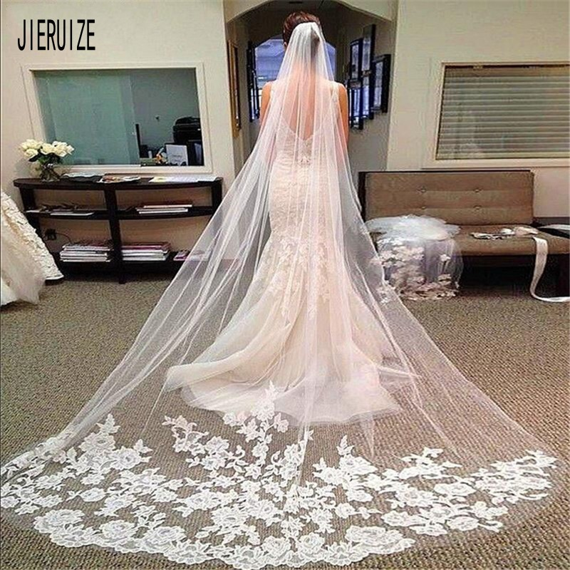 JIERUIZE Long Bridal Veil with Comb Lace Appliqued Edge Tulle Bride Veil One Layer Wedding Accessories 2021