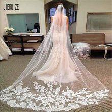 Jieruize véu de noiva, véu de noiva longo com pente aplique borda de noiva de uma camada acessórios de casamento 2020