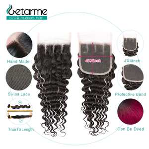 Image 5 - Peruvian Deep Wave Hair 3 Bundles With 4x4 Lace Closure Remy Human Hair Bundles With Closure Free/Middle/Three Part Lace Closure