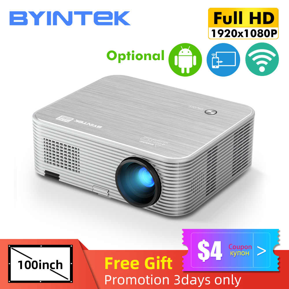 BYINTEK K15 4K 1920X1080P Smart Android Wifi Projector LED Video Projector Proyektor untuk 3D 4K 300 Inci Home Cinema Terbaru 1080P