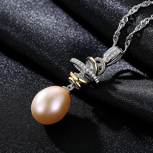 S925 Silver Necklace Water Wave Chain 10 11mm Natural Freshwater Rice Bead Hanging Jewelry Wholesale for Women Pendant in Pendants from Jewelry Accessories