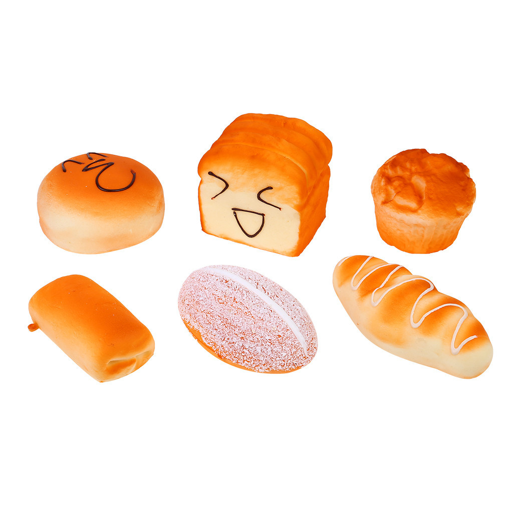 6 Pc Mini Food Bread Slow Rising Squeeze Toys  Window Display Photography Props Kitchen Toy Childrens Party Decorations #C