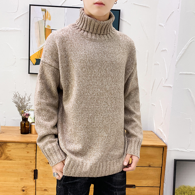 UUYUK Men Solid Pullover Jacquard Knit Slim Turtleneck Sweater