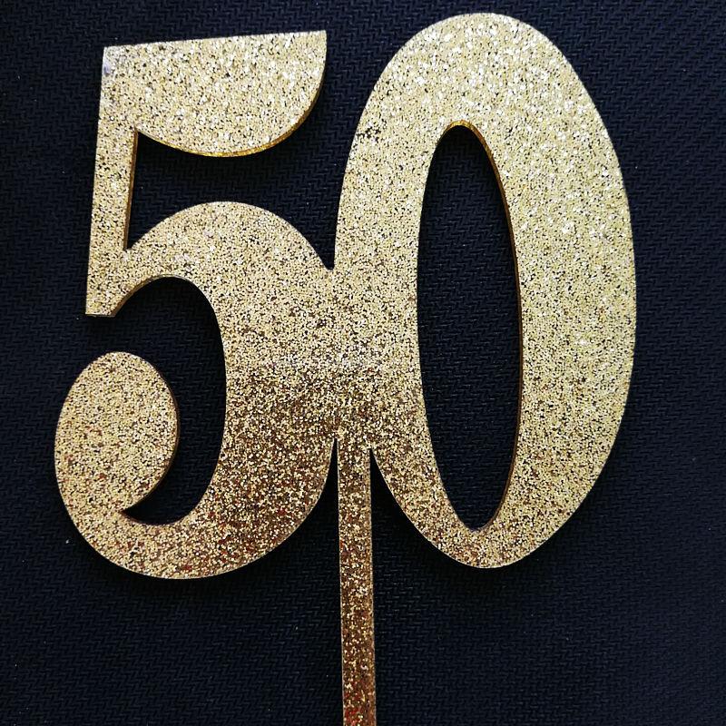 New Glitter 50 Wedding Anniversary Acrylic Cake Topper 25 Birthday Cake Topper for Wedding Anniversary Party Cake Decorations