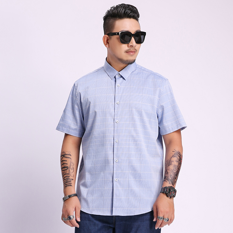 8xl 7xl 6xl 5xl Plaid Short Sleeve Shirts For Men Painting Large Size Casual Top Blouse Turn Down Collar Large Size Men Cloth