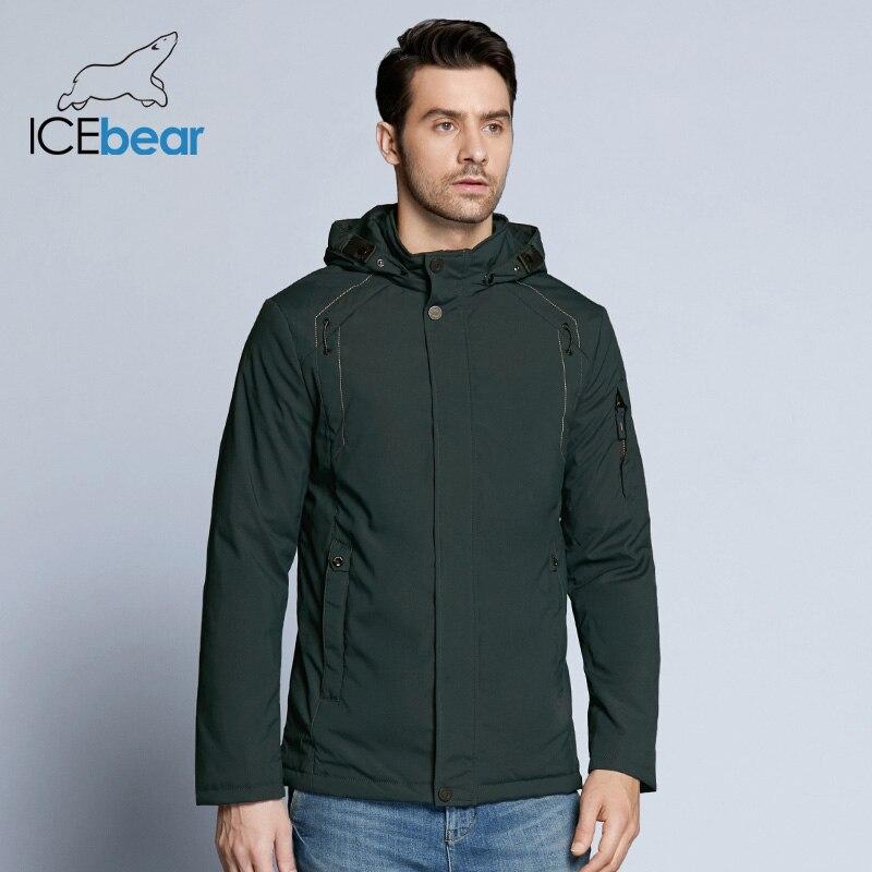 ICEbear 2019 New Autumn Men's Coats Windbreaker Warm Apparel Cotton Padded Detachable Hat Brand Hooded Man Jacket MWC18120D