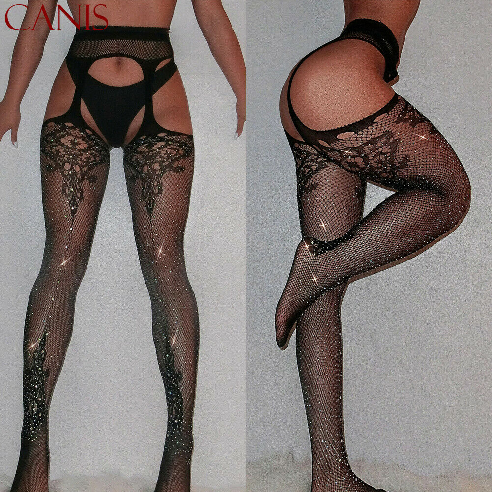 Women Hot Drilling Diamond Stretchy Fishnet Pantyhose Ladies Sexy Party Bling Elastic Stockings