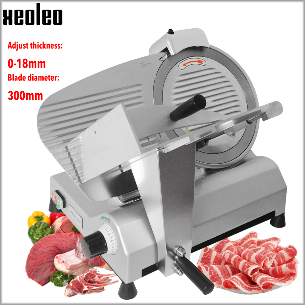 XEOLEO Commercial Meat Slicer Electric Skiving Machine Frozen Meat Slicing Machine Semi-Automatic Cut Mutton Roll Slicer 12 Inch