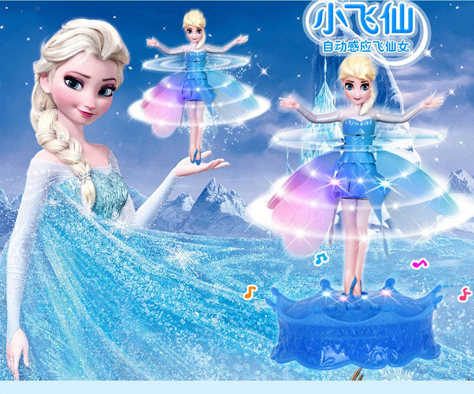 Newest Flying  Princess Elsa With Music Toy Infrared Induction Control Flying Dolls For Girls Remote Control Toys