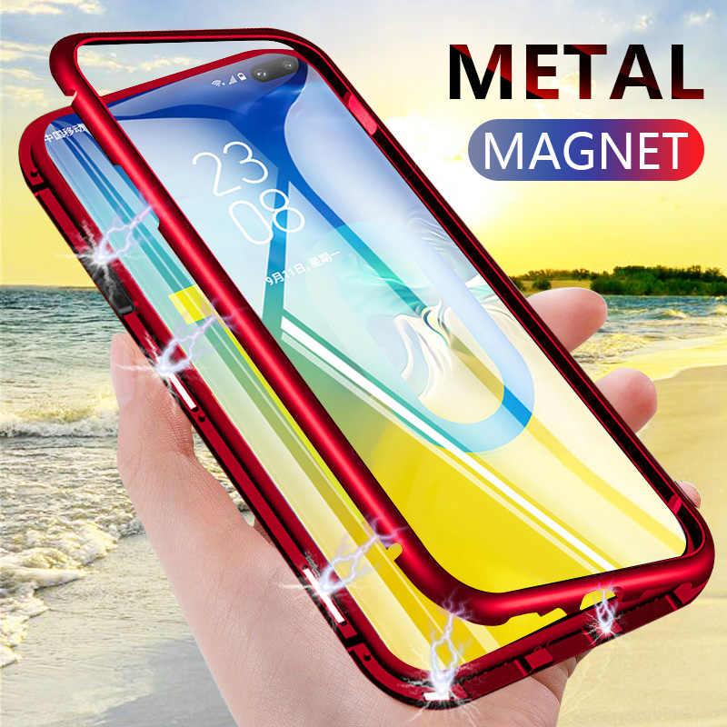 Полный чехол с магнитной металлической рамкой для samsung Galaxy A70 A60 A50 A40 A30 A20 A10, чехол из закаленного стекла на магните для M10 M30