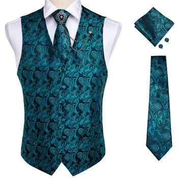 New Teal Green Paisley 100% Silk Formal Dress Vest Men Waistcoat Vest Wedding Party Vest Tie Brooch Pocket Square Set DiBanGu 22