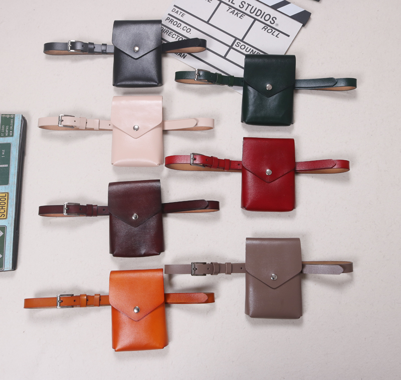 Korean Flap Waist Packs Women Genuine Leather MIni Street Fanny Packs Cow Leather Ladies Waist Bags Belt Retro Wallet Phone  Bag