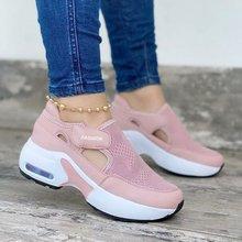 2021 moda feminina vulcanizada tênis plataforma cor sólida apartamentos senhoras sapatos casuais respirável cunhas senhoras andando tênis
