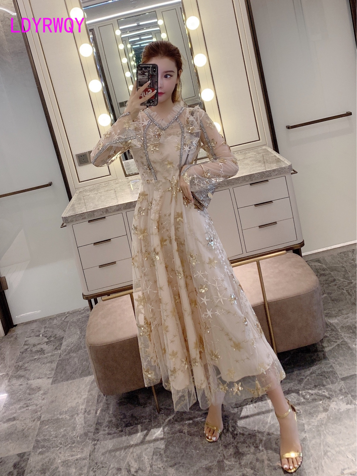 2019 early autumn new heavy industry mesh sequins embroidered dress Ankle Length Regular V Neck Full in Dresses from Women 39 s Clothing