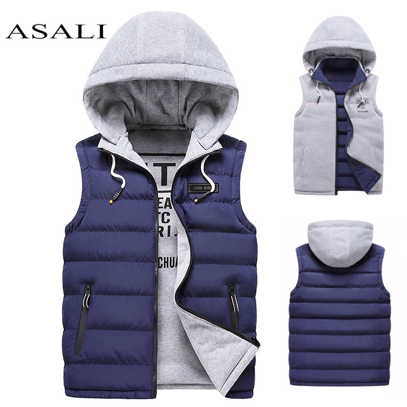Men's Down Vests Cotton-Padded Gilet Winter Jacket Waistcoat Sleeveless Solid Zipper Thick Hooded Coats Male Overcoat Warm Vests