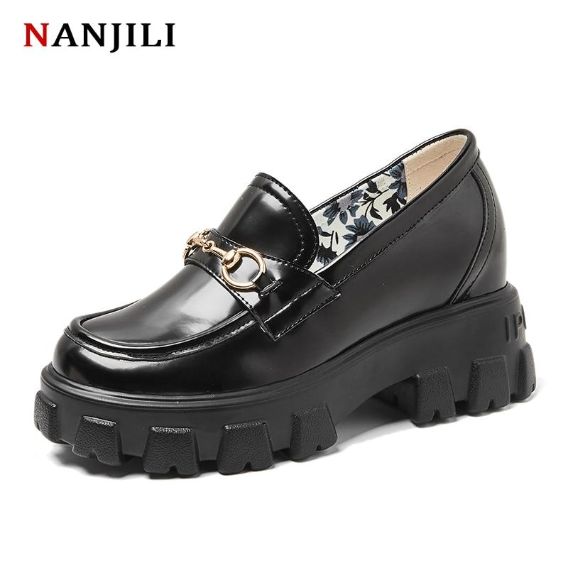 2020 femmes plate-forme chaussures de haute qualité en cuir compensées bout rond de luxe mode printemps automne femmes plate-forme