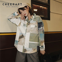 CHEERART Color Block Long Sleeve Blouse Loose Button Up Shirt Women Designer Tops And Blouses 2019 Autumn Clothing autumn striped blouse women designer top button loose up shirt long sleeve korean fashion clothing 2019