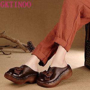 Couro genuíno sandálias femininas artesanal bowtie plataforma cunhas de salto alto sapatos de verão redondos toes comfotable slides