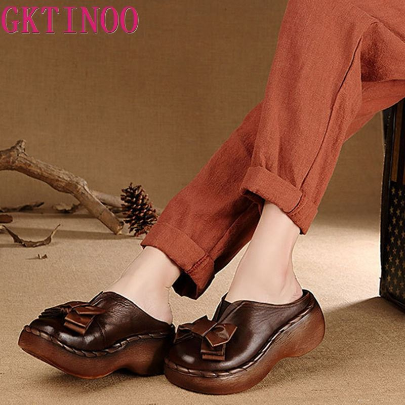 Genuine Leather Women Sandals Handmade Bowtie Platform Wedges Cowhide High Heel Summer Shoes Round Toes Comfotable Women Slides