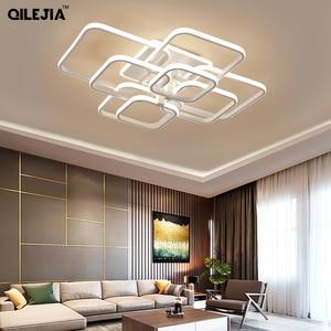 Image 2 - Современная Люстра для гостиной, спальни, AC85 265V, акриловая, алюминиевая, золотистая/белая/кофейная рамка, потолочные светильники
