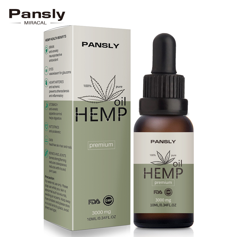 Pansly Hemp Oil, 100% Natural Sleep Aid Anti Stress Hemp Extract Drops For Pain, Anxiety & Stress Relief, 3000mg Contains Cbd