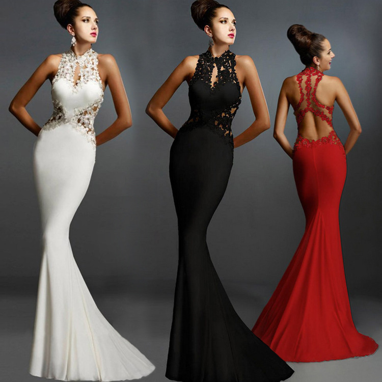 Europe And America High-End Fishtail Lace Formal Dress EBay Hot Selling Sexy Flower Stickers Sleeveless Backless Formal Dress Sl