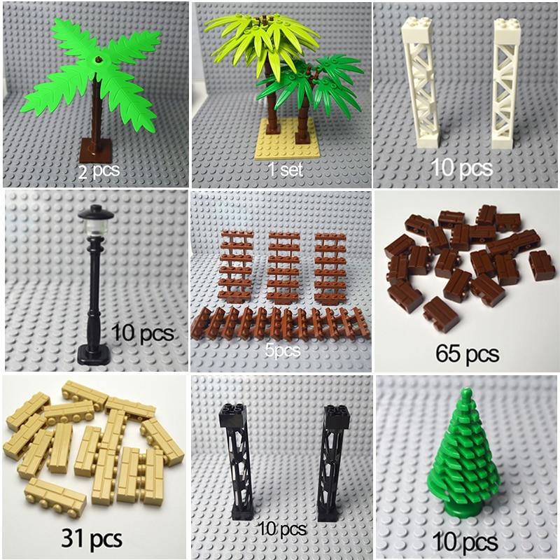 City Accessories Building Blocks Military Weapon Green Bush Flower Grass Tree Plants House Toys Compatible Leduo Bricks