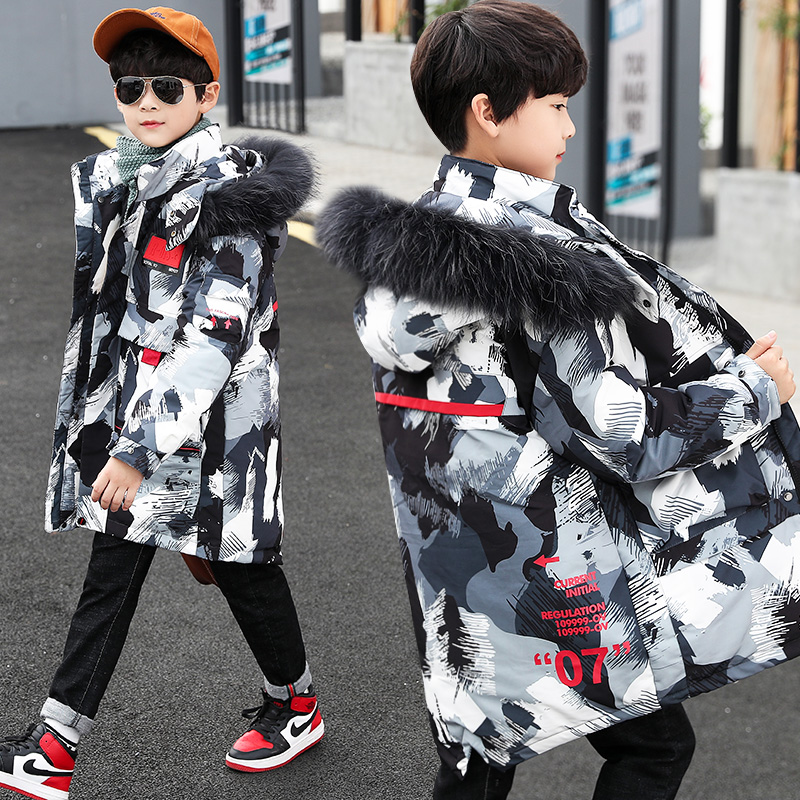 Зимняя куртка для мальчиков-подростков 2020 детская маскирующая меховая верхняя одежда с капюшоном детская утепленная куртка для мальчиков 4...