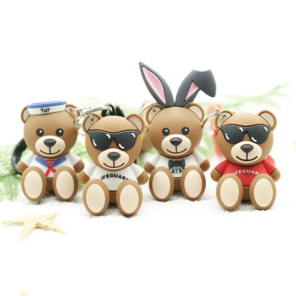 2019 New Personality Bear Key Chain Gifts For Women Girls Bag Pendant Epoxy PVC Figure Charms Key Rings For Children's Toys Gift