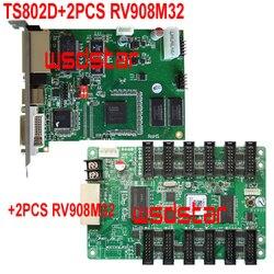 TS802D+2PCS RV908M32 RV908V32 LED sending card with 2pcs RV908M32 LED receiving card RV908T RV908 RV908M TS801 TS801D TS802