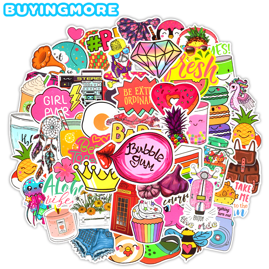 100 PCS Cartoon Graffiti Stickers Vsco Girl Anime Funny PVC Waterproof Sticker DIY Laptop Guitar Fridge Suitcase Bicycle Helmet