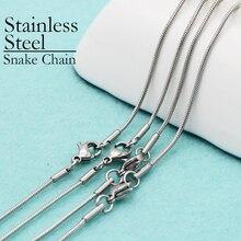 50 adet paslanmaz çelik yılan zincir kolye, 16/18/20/22/24/30 inç 1.2mm yılan kolye hiçbir kararmaz hiçbir solmaya kadınlar için takı