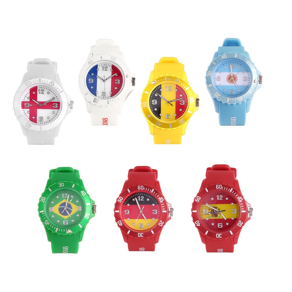 2018 Football Sports Custom Russian/England/Spanish/Brazil/French Flag Quartz Watch Casual Unisex Watch Silicone Strap Relogio
