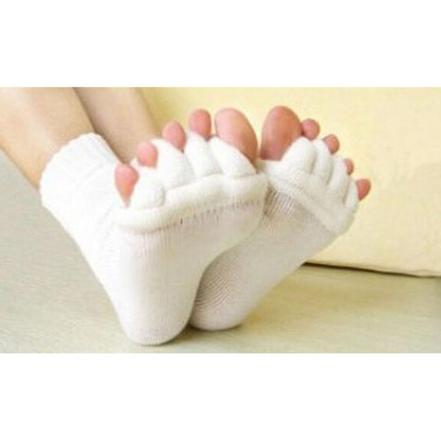 OPHAX 1pair Men Women Unisex Yoga Socks Sleeping Health Foot Care Massage Toe Socks Five Fingers Toes Compression Treatment 3