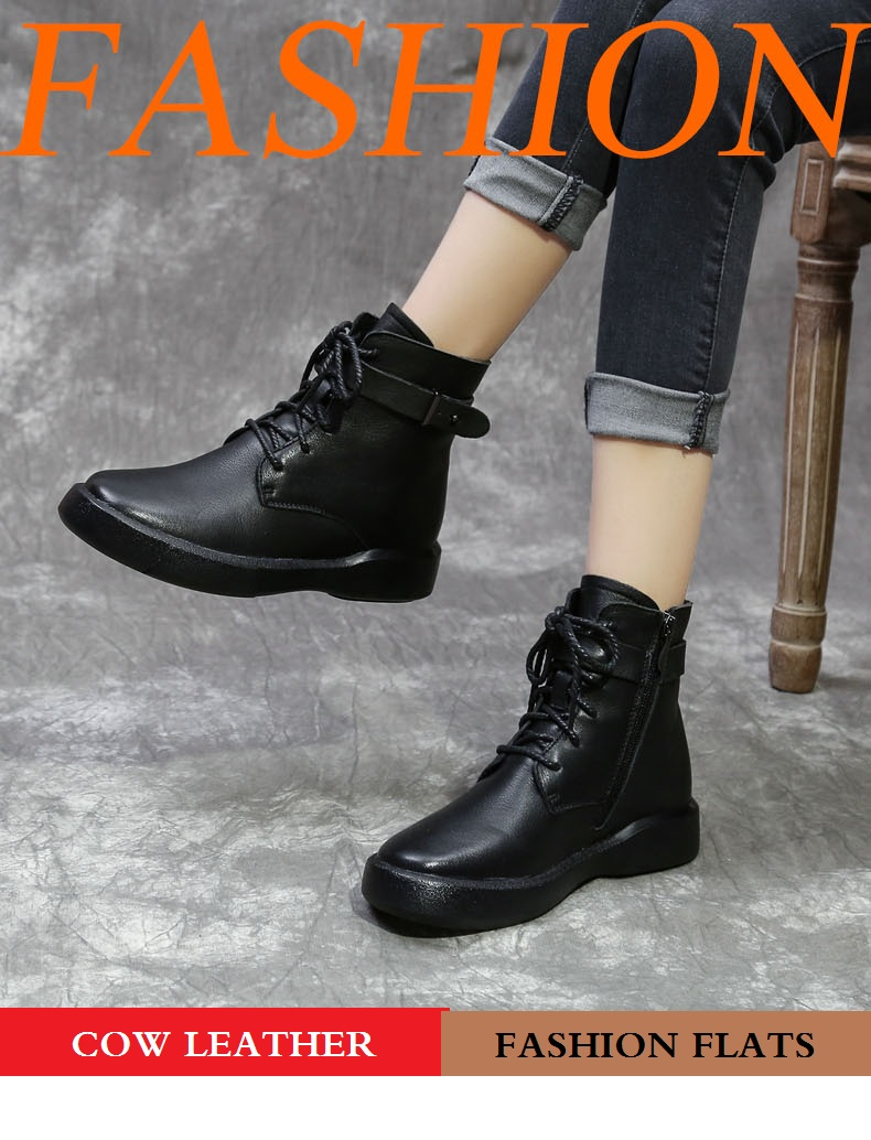DRKANOL 2020 Handmade Genuine Leather Casual Flat Boots Women Warm Shoes Autumn Winter Ankle Boots Female Round Toe Women Boots