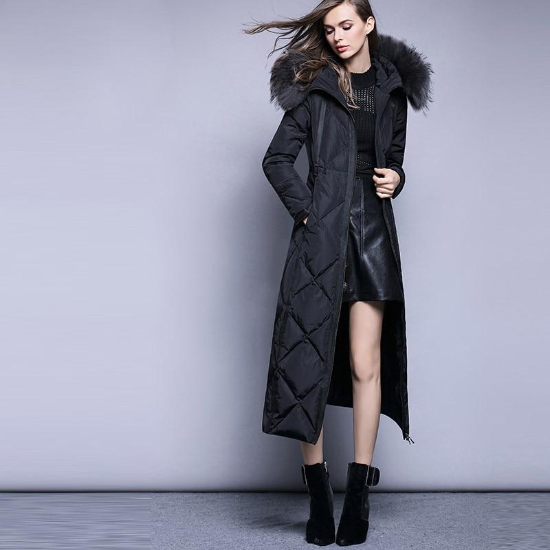 High 2020 Quality Warm Winter Coat Female White Duck Down JacketThick Women Long Parkas Slim Ladies Coats Casacos WXF330 S