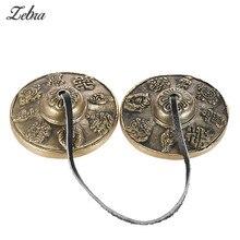 1 пара ручной работы тибетские колокольчики медитация Tingsha тарелки колокольчик буддийский колокольчик благоприятный ударный инструмент 6,5 см