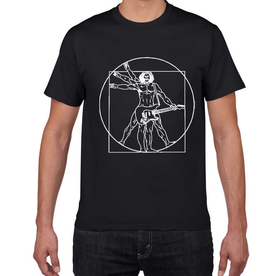 Da Vinci guitar funny T-Shirt men Vitruvian Man rock band Vintage Graphic Music Novelty streetwear t shirt men homme men clothes