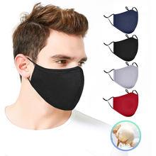 Masque buccal noir réutilisable en tissu Non jetable, 4 pièces, protection buccale, livraison rapide en 10 jours, espagne