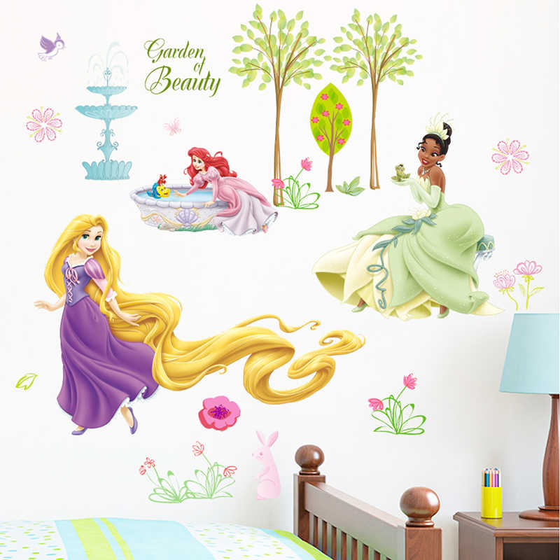 Cartoon Disney Rapunzel Cinderella Princess Garden Of Beauty PVC Wall Stickers For Home Decor Kids Room Decoration Mural Decals
