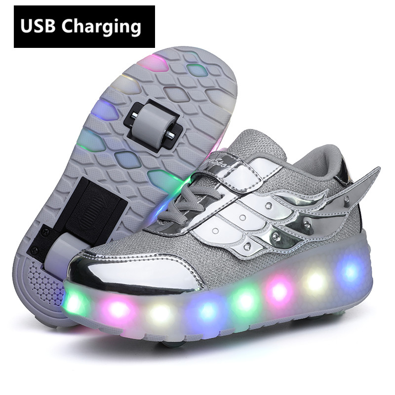 Wheels Orange USB Charging Fashion Girls Boys LED Light Roller Skate Shoes For Children Kids Sneakers With Wheels Two Wheels