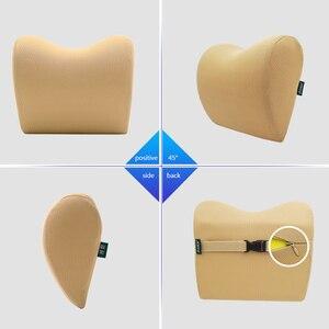 Image 4 - 2 個/1 pc 車のヘッドレスト首枕座椅子自動低反発綿クッション生地カバーソフトヘッドレスト旅行サポート
