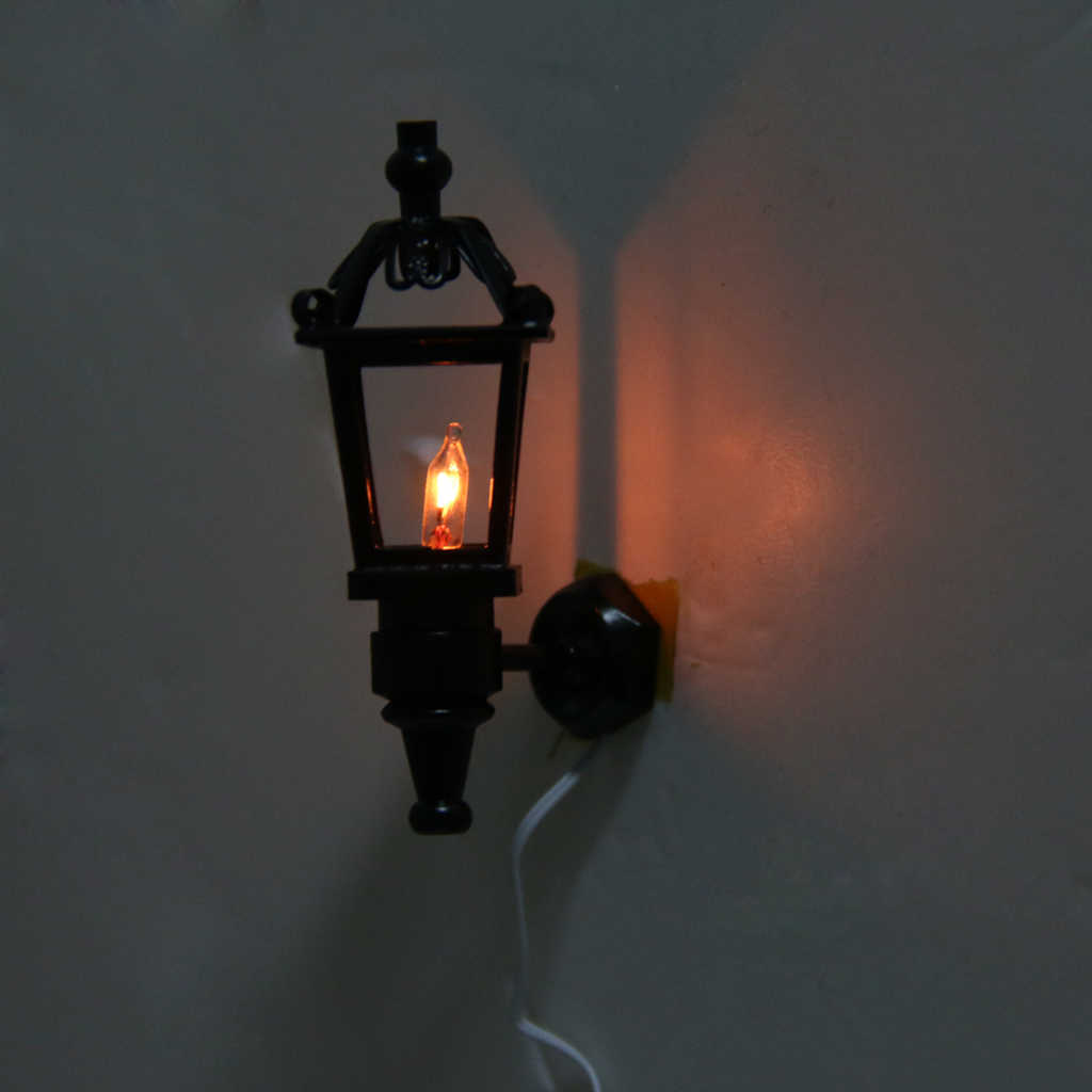 Vintage Black 1:12 Dollhouse Miniature Living Room Garden Park Wall Lamp