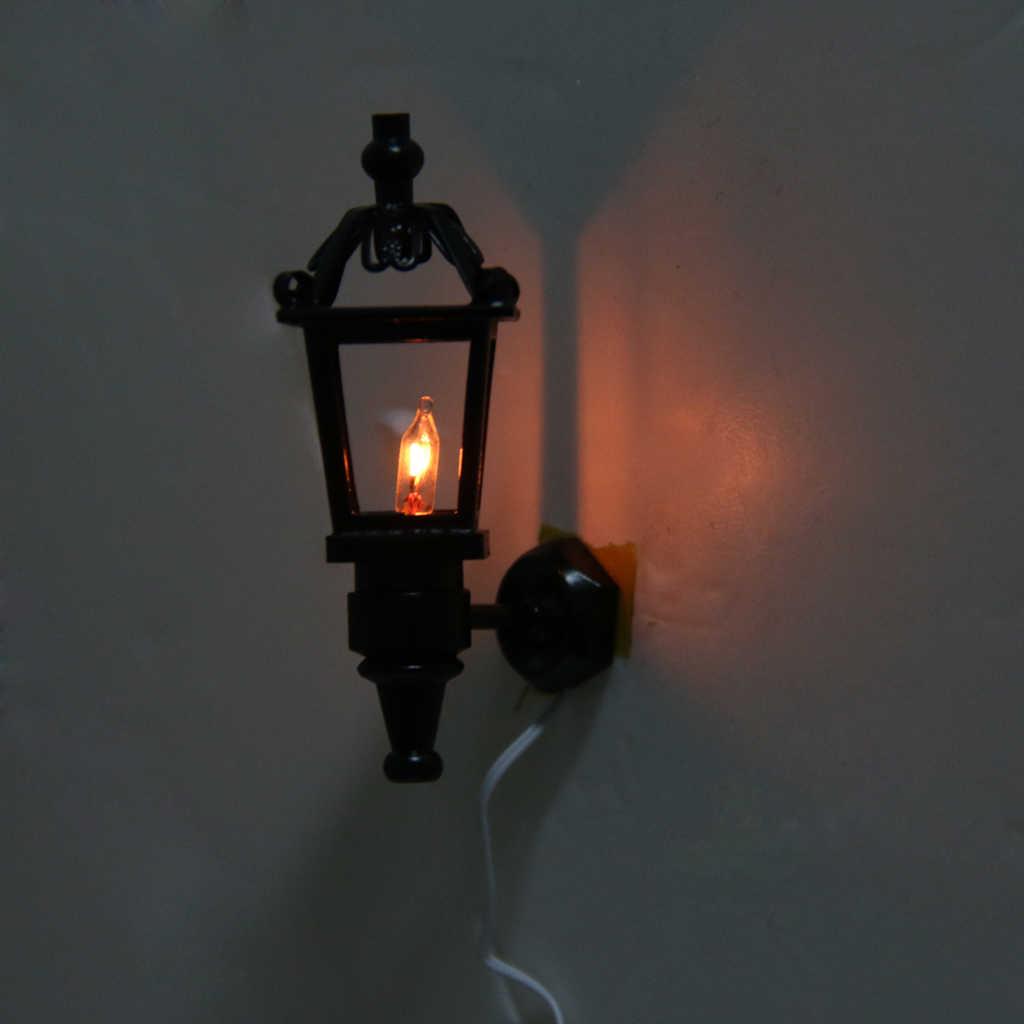 Vintage Black 1:12 Dollhouse Miniature Living Room Garden Park Wall Lamp