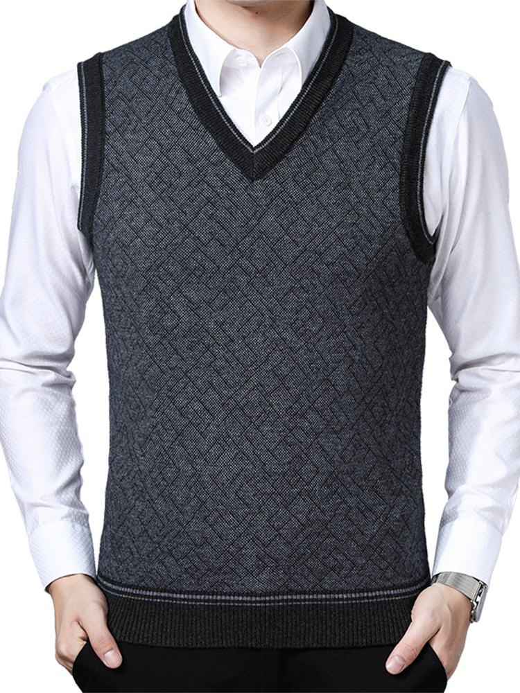 Sweaters Mens Vest Clothing Pullovers Knitwear Jumpers Korean-Style V-Neck Winter Sleeveless