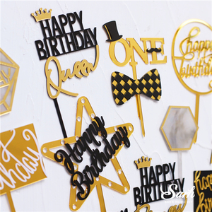 Image 2 - Gold Silver Acrylic Heart Collection Happy Birthday Cake Topper Decoration Football Star Baking Suplies Wedding Party Love Gifts